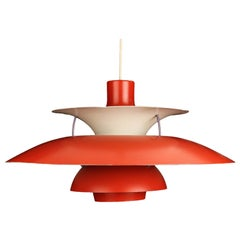 Danish Vintage Red Ceiling Pendant Ph5 by Poul Henningsen, 1970s