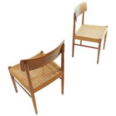 Pair of Danish Vintage Retro Paper Cord Teak Dining Chairs Midcentury, 1960s