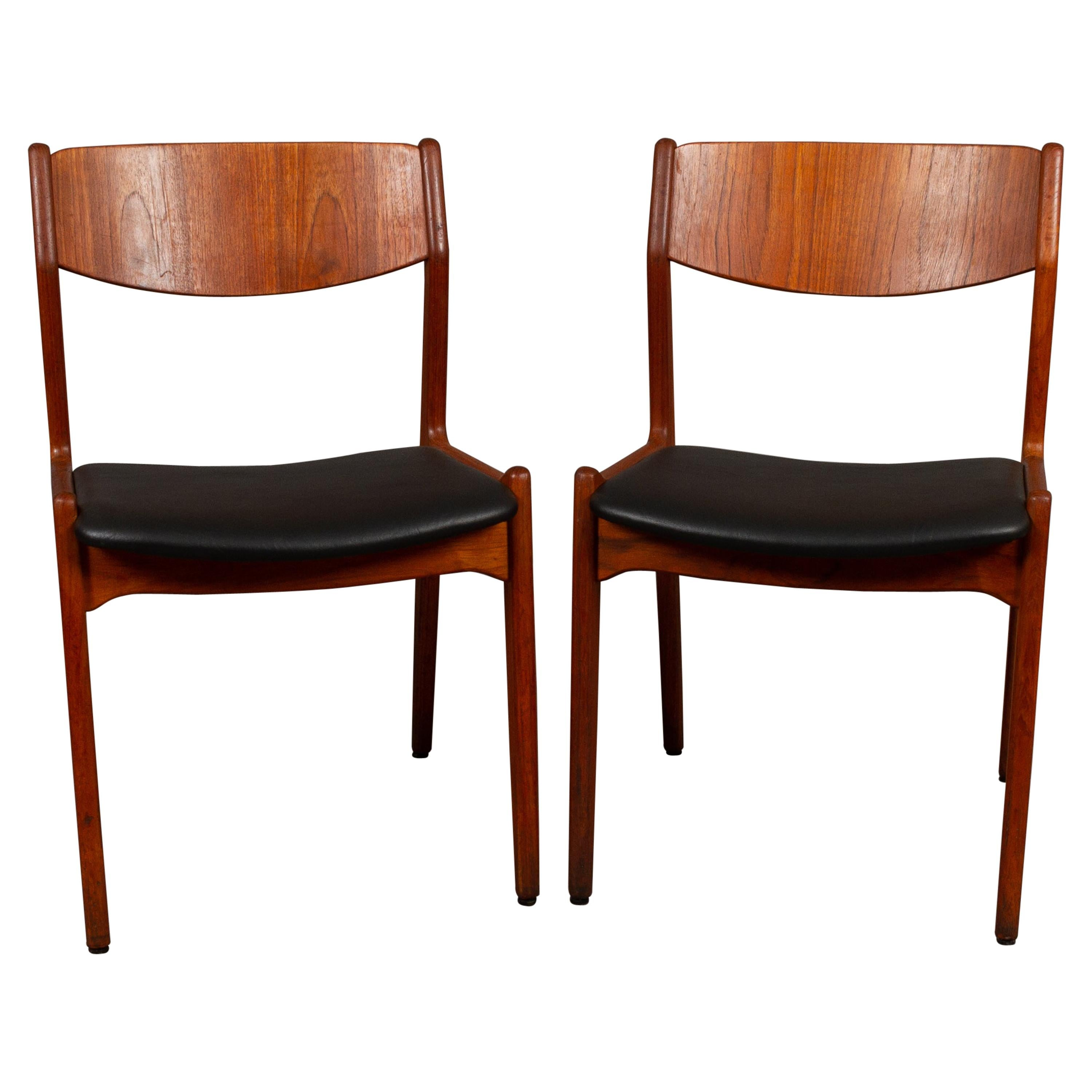 Danish Vintage Teak Dining Chairs, 1960s, Set of 2
