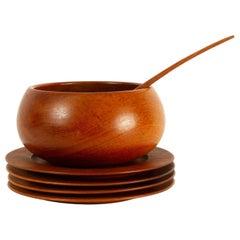 Danish Vintage Teak Plates and Bowl 1960s, Set of 6