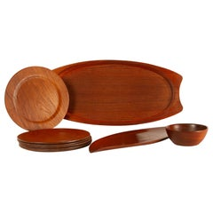 Danish Vintage Teak Tray, Plates and Bowl 1960s Set of 9