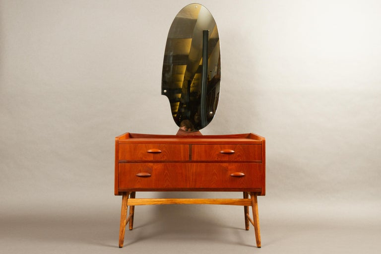 Danish vintage teak vanity with mirror 1950s
