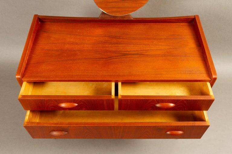 Oak Danish Vintage Teak Vanity with Mirror, 1950s For Sale