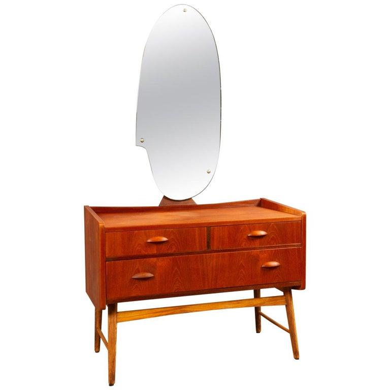 Danish Vintage Teak Vanity with Mirror, 1950s For Sale