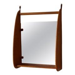 Danish, Wall Mirror with Shelf, Teak, Mirror Glass, Leather, Denmark, 1950s