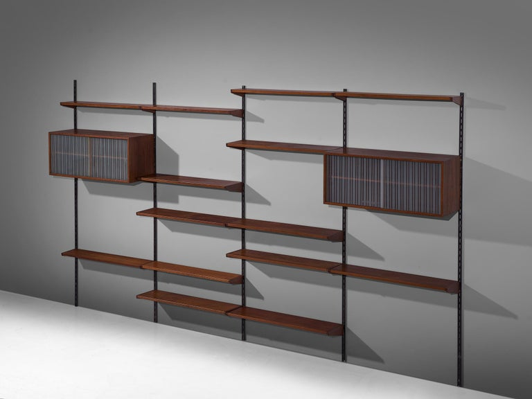 Wall unit, teak, glass and metal, Denmark, 1960s