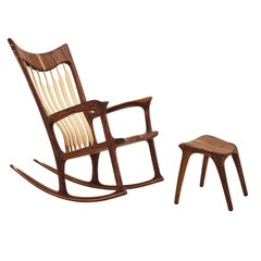 Danish Walnut and Ash Tree Rocking Chair Handcrafted by Morten Stenbæk
