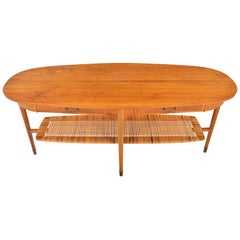 Danish Walnut and Brass Coffee Table with Cane Rack
