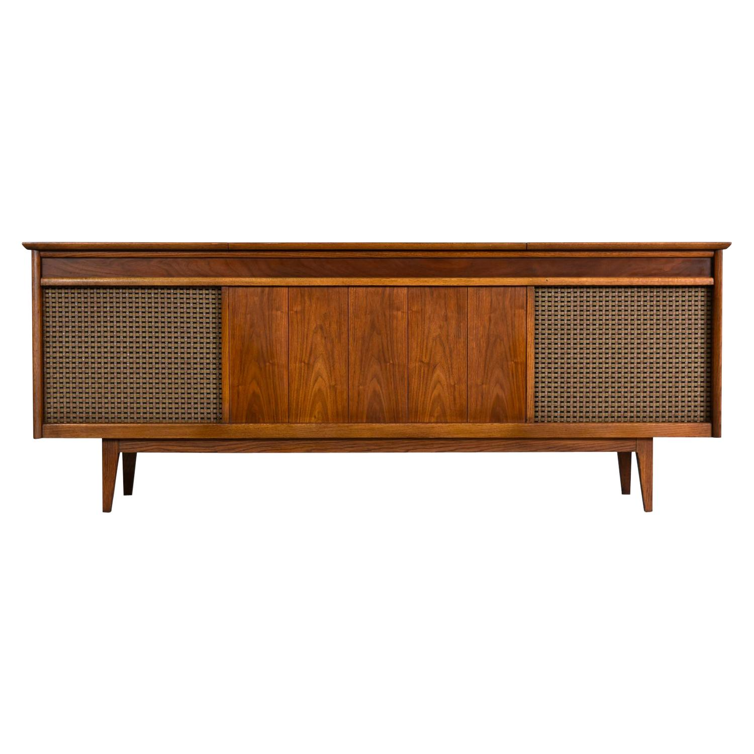 Danish Walnut Credenza Style Console Stereo Cabinet with Original Speakers