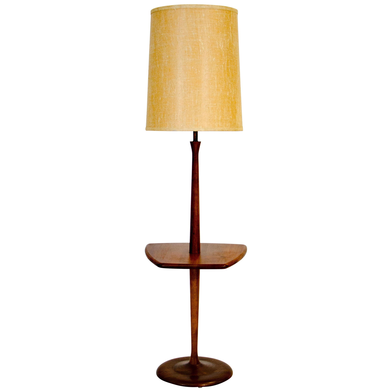 Danish Walnut Floor Lamp with Table