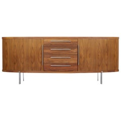 Danish Walnut Oval Tambour Naver Sideboard by Nissen and Gehl MDD