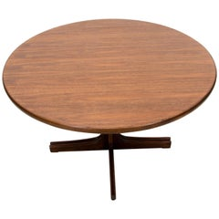 Danish Walnut Round Dining Table on Pedestal Base with Two Leaves