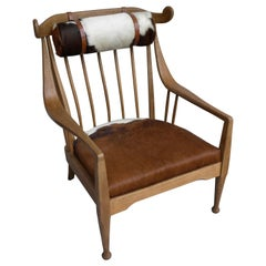 Danish Well Crafted Cowhorn Lounge Chair in Solid Oak with Cowhide and Nekroll