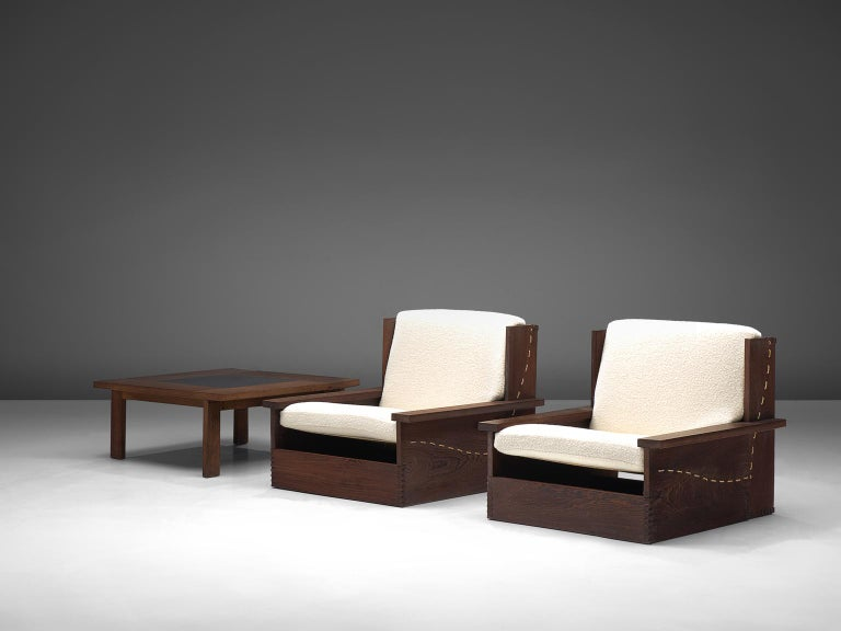 Mid-Century Modern Danish Wenge Lounge Chairs and Coffee Table with Pierre Frey Fabric For Sale