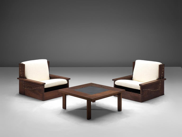 Mid-20th Century Danish Wenge Lounge Chairs and Coffee Table with Pierre Frey Fabric For Sale
