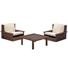 Danish Wenge Lounge Chairs and Coffee Table with Pierre Frey Fabric