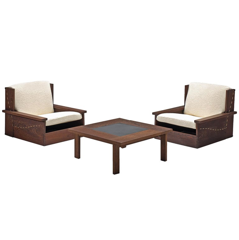 Danish Wenge Lounge Chairs and Coffee Table with Pierre Frey Fabric For Sale