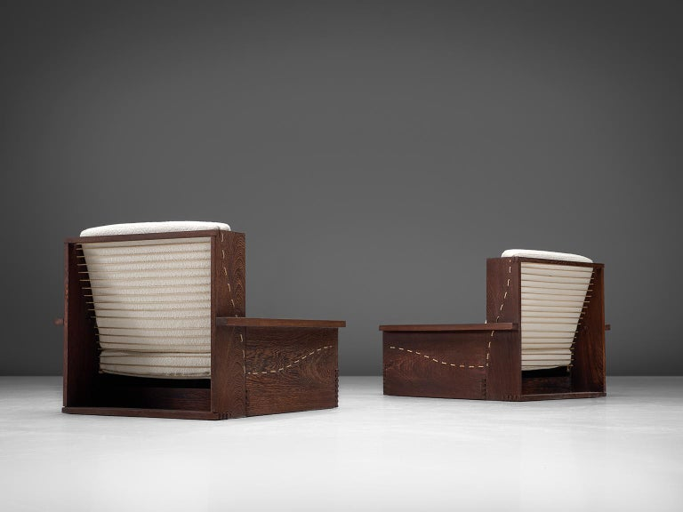 Scandinavian Modern Danish Wenge Pair of Lounge Chairs in Woolen Pierre Frey For Sale