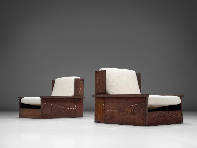 Danish Wenge Pair of Lounge Chairs in Woolen Pierre Frey In Good Condition For Sale In Waalwijk, NL