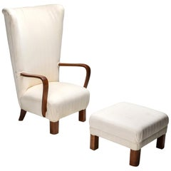 Danish White High Back Lounge Chair with Pouf