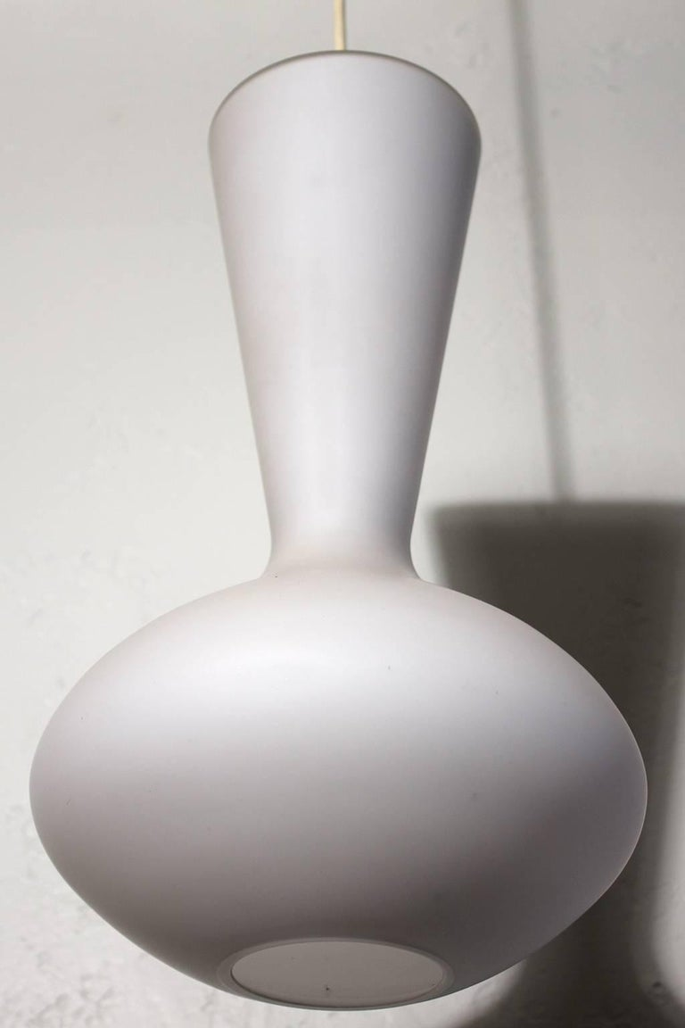 Danish White Opal Frosted Glass Hanging Pendant Lamp by Holmegaard In Excellent Condition For Sale In San Diego, CA