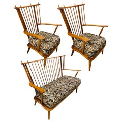 Danish Windsor Bench and Pair Chairs, 1950s