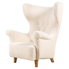 Danish Wingback Armchair, circa 1940, Newly Upholstered with Bouclé Fabric