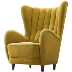 Danish Wingback Chair in Original Yellow Upholstery