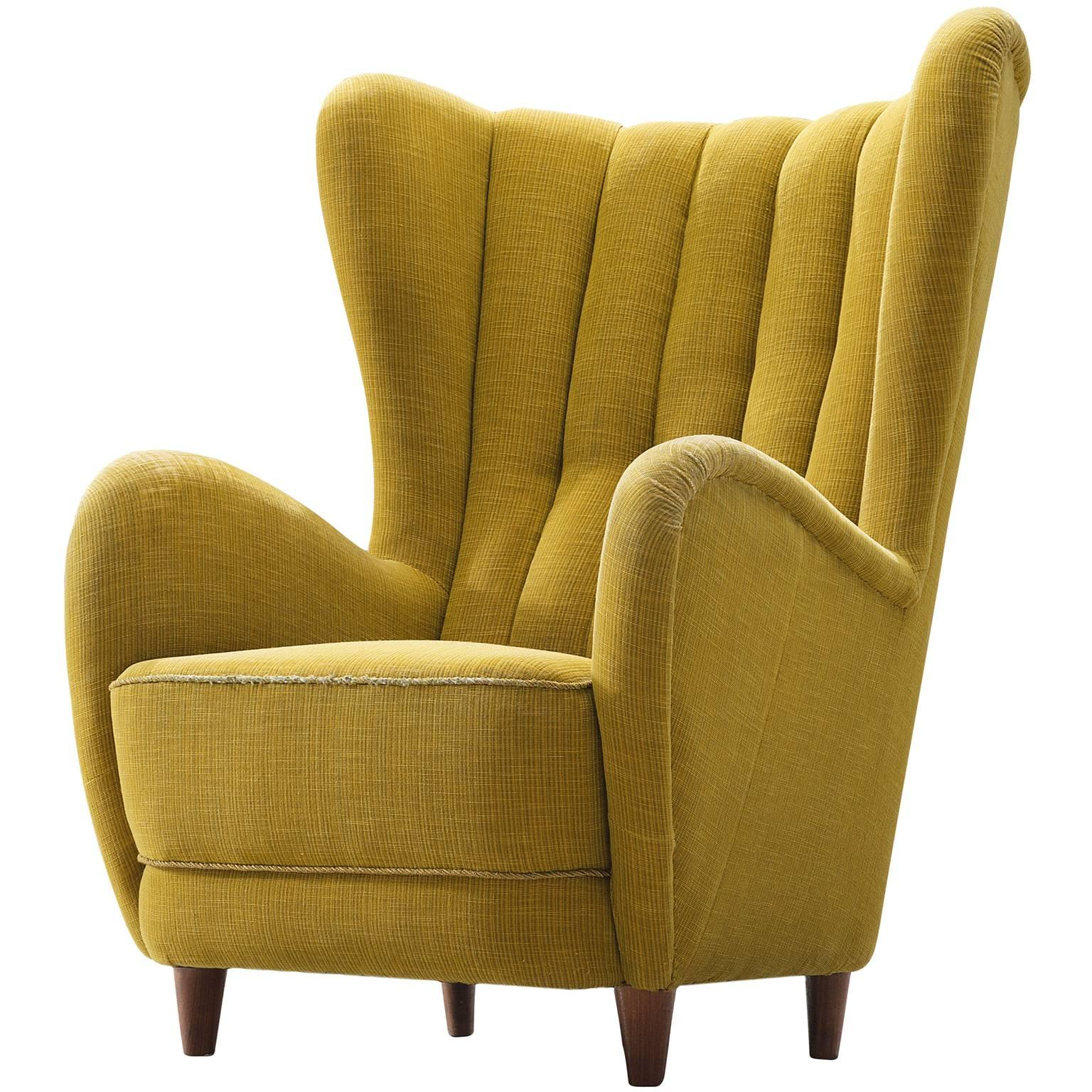 Charmant Danish Wingback Chair In Original Yellow Upholstery For Sale