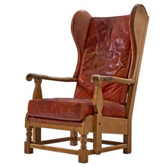Danish Wingback Chair in Red Leather and Oak