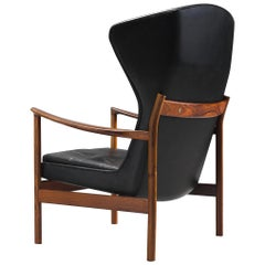 Danish Wingback Chair in Rosewood and Leather