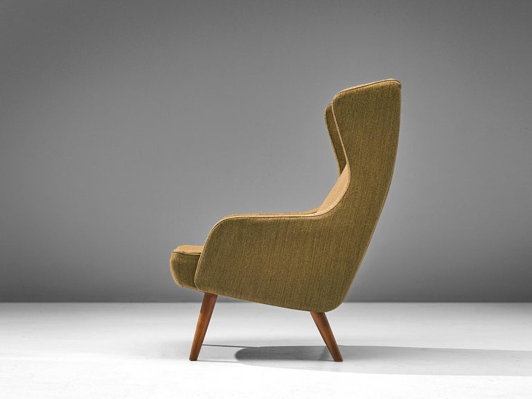 Scandinavian Modern Danish Wingback Chair in Taupe Upholstery by Fritz Hansen For Sale