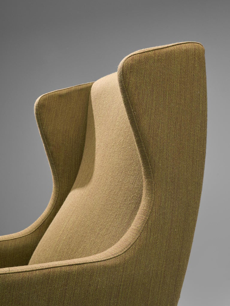 Mid-20th Century Danish Wingback Chair in Mustard Upholstery by Fritz Hansen For Sale