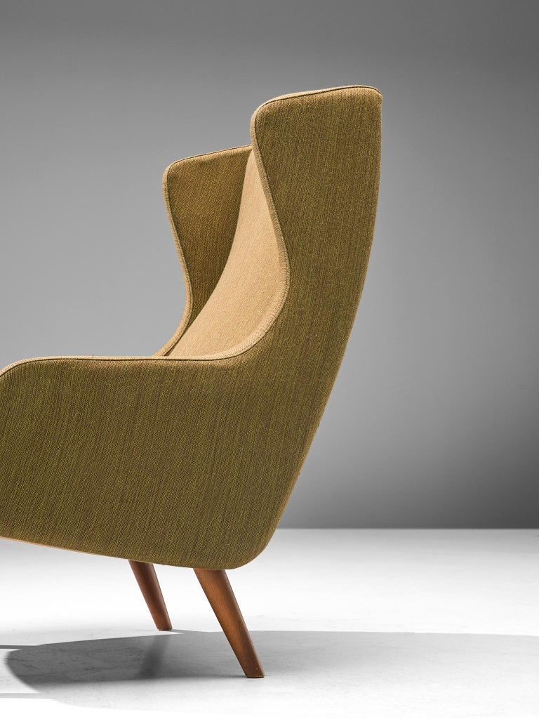 Fabric Danish Wingback Chair in Mustard Upholstery by Fritz Hansen For Sale