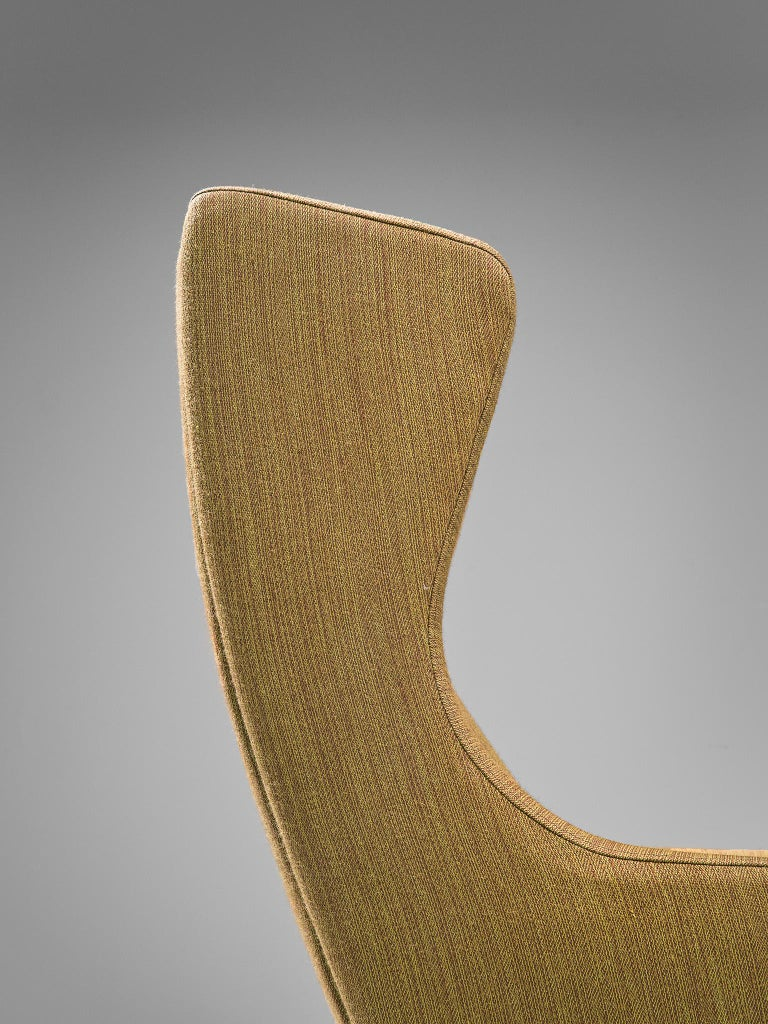 Danish Wingback Chair in Mustard Upholstery by Fritz Hansen For Sale 1