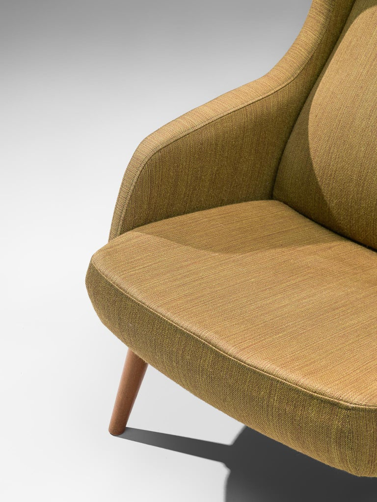 Danish Wingback Chair in Mustard Upholstery by Fritz Hansen For Sale 2