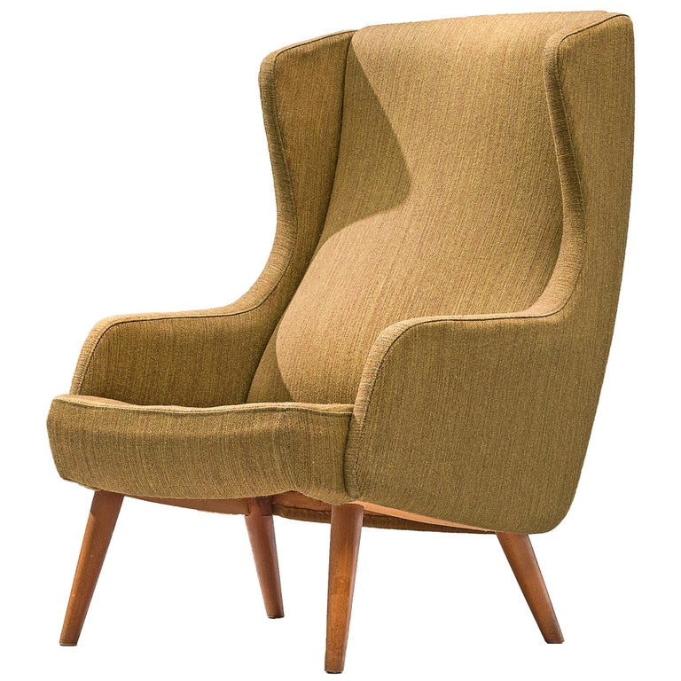Danish Wingback Chair in Mustard Upholstery by Fritz Hansen For Sale