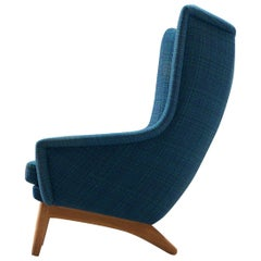 Danish Wingback Chair with Sky Blue Upholstery