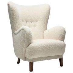 Danish Wingback Chair with Stained Beech Legs, Denmark, 1940s