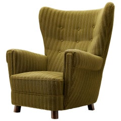 Danish Wingback Lounge Chair in Green Upholstery