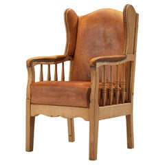 Danish Wingback Lounge Chair in Original Cognac Leather