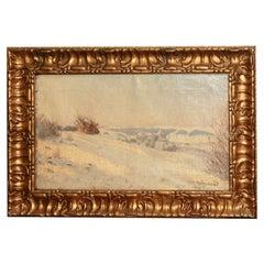 Danish  Winter Scene Oil Painting