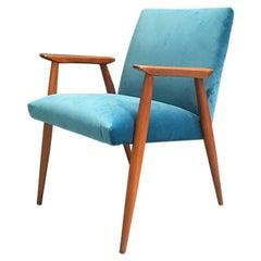 Danish Wooden Structure and Light Blue Velvet Armchair, 1960s