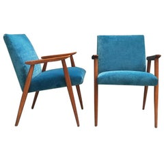 Danish Wooden Structure and Light Blue Velvet Armchairs, 1960s