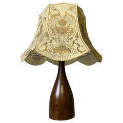 Danish Wooden Table Lamp with Gilded Hood