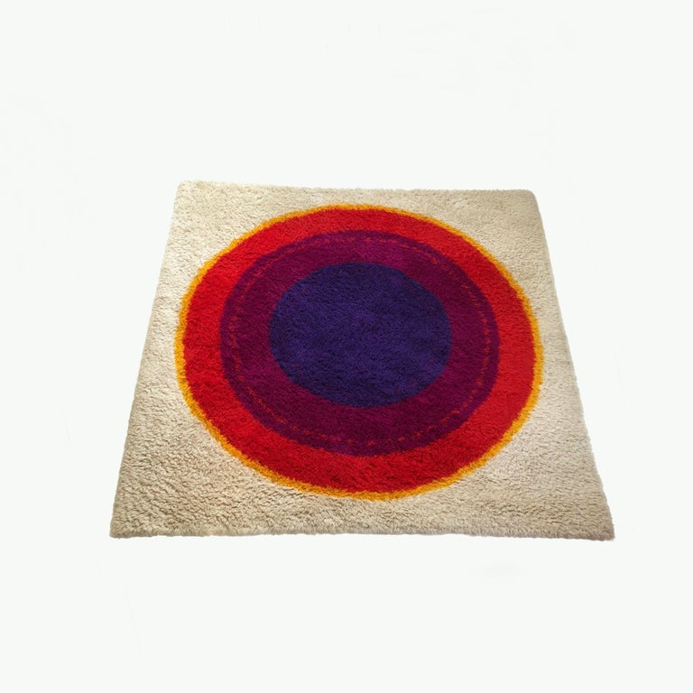 Article:  Original huge 1960s high Pile Rya rug Ring pattern.   Origin:  Denmark   Design:  Inspired by Verner Panton   Producer:  Hojer Eksport Wilton, Denmark   Description:  This rug is a great example of 1960s Pop Art
