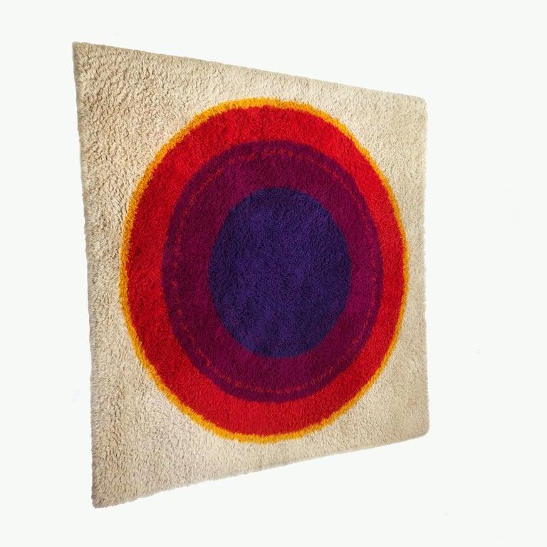Mid-Century Modern Danish Wool Rya Rug Tapestry