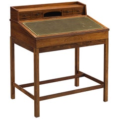 Danish Writing Desk with Olive Green Leather and Rosewood