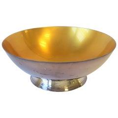 Danish Yellow Enamel and Silver Bowl
