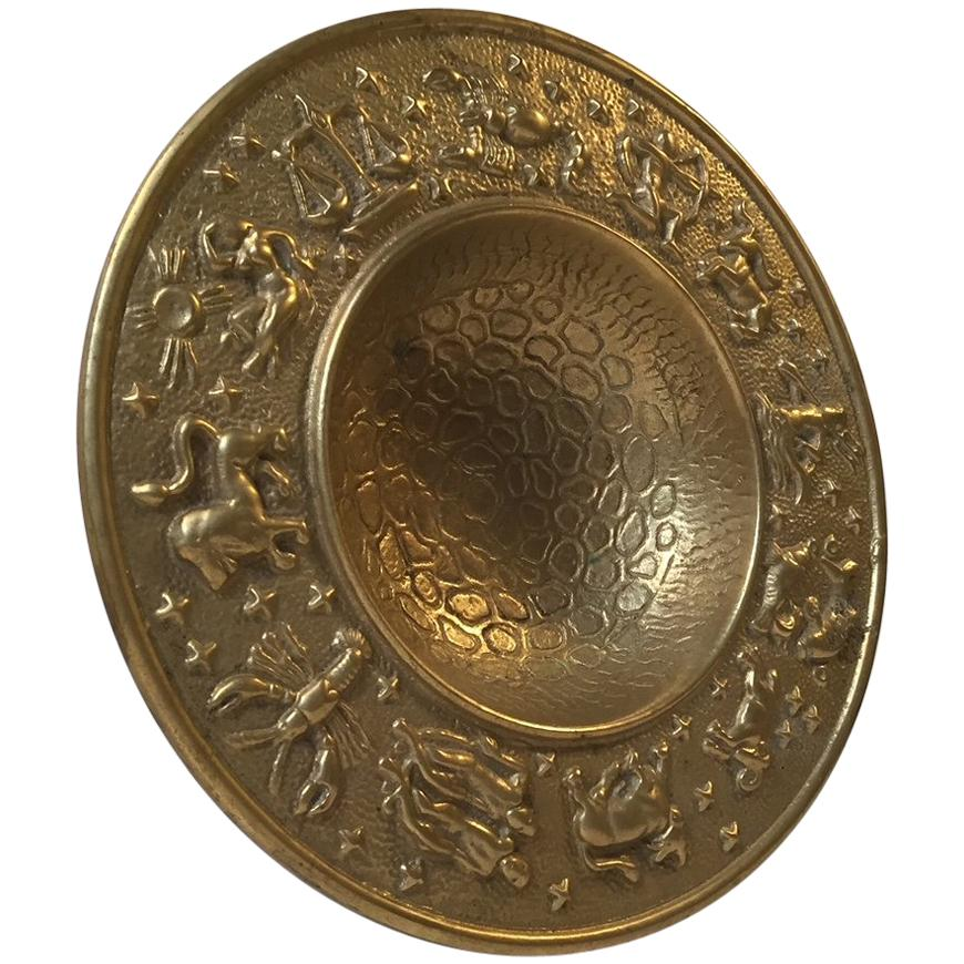 Danish Zodiac Bronze Bowl with Moon Texturing from Nordisk Malm, 1940s